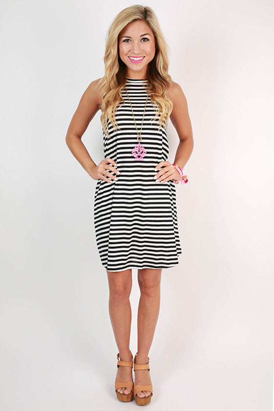 The Lola Stripe Tank Dress in Navy