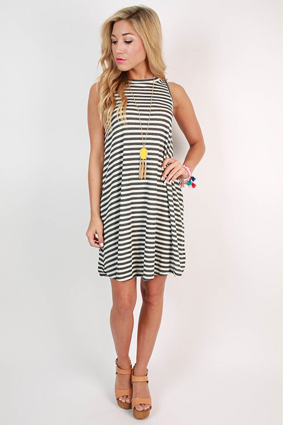 The Lola Stripe Tank Dress in Charcoal