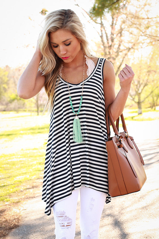 The Elle Stripe Swing Tank in Navy