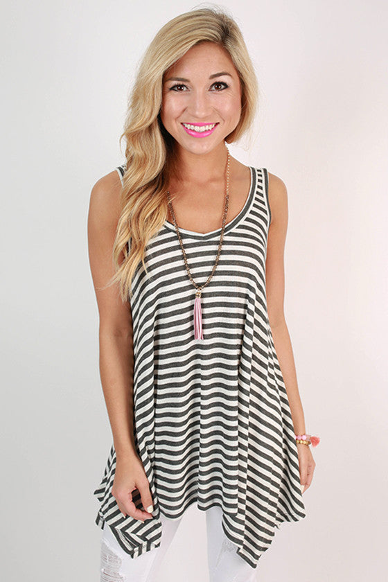 The Elle Stripe Swing Tank in Charcoal