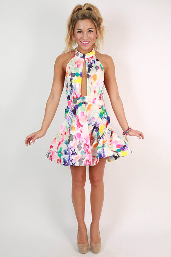 Day Dream Divine Watercolor Halter Dress