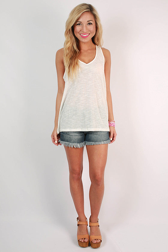 Out and About Racerback V-Neck Tank in White