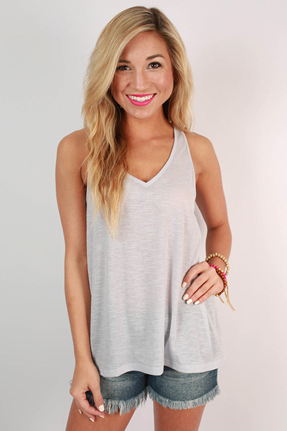 Out and About Racerback V-Neck Tank in Light Lavender