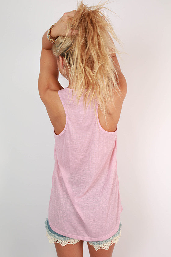 Out and About Racerback V-Neck Tank in Blush