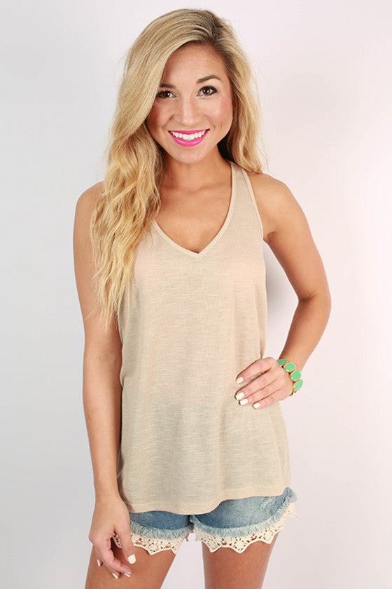 Out and About Racerback V-Neck Tank in Stone