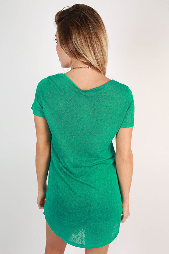 Clear Skies V-Neck Tee in Emerald
