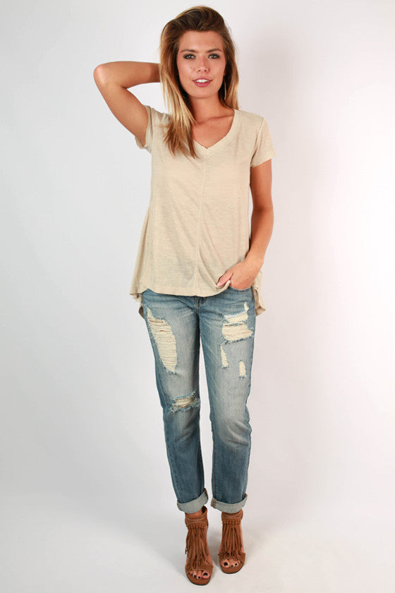 Go With The Flow V-Neck Tee in Stone