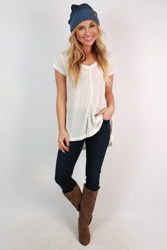 Go With The Flow V-Neck Tee in White