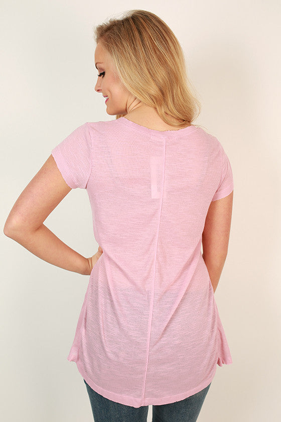 Go With The Flow V-Neck Tee in Blush