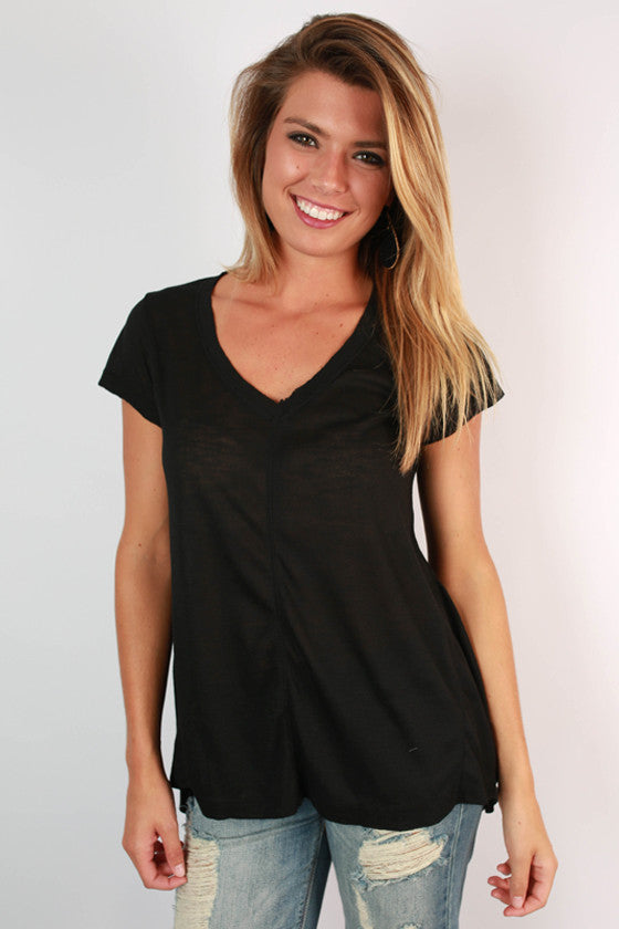 Go With The Flow V-Neck Tee in Black