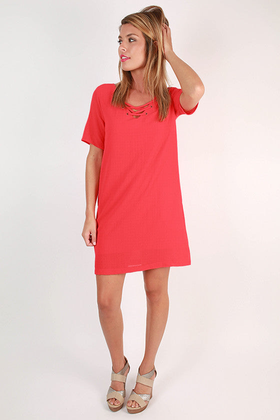 Sunday Charm Shift Dress in Coral