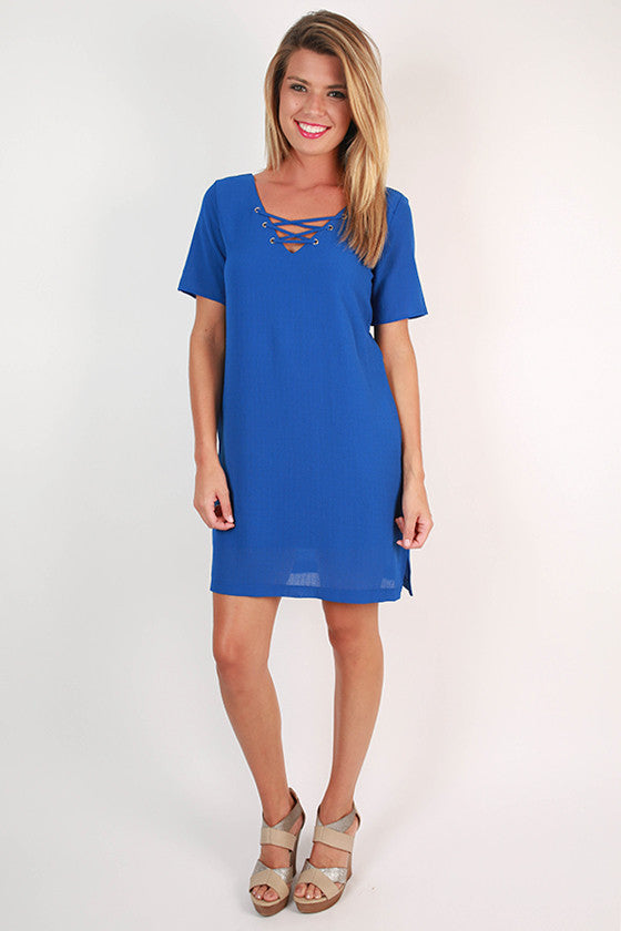 Sunday Charm Shift Dress in Royal Blue