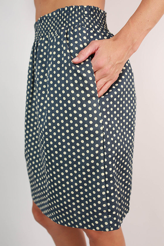 Divine & Chic Dot Skirt in Slate