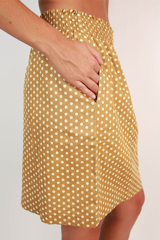 Divine and Chic Dot Skirt in Khaki