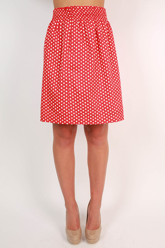 Divine & Chic Dot Skirt in Red