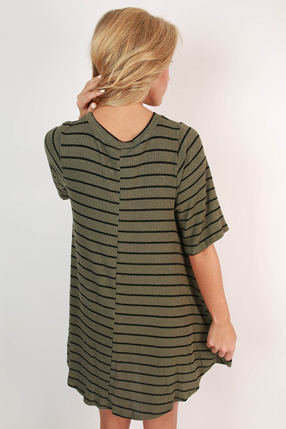 Paris Stripe Shift Dress in Army Green