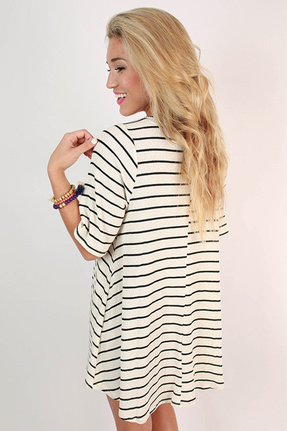 Paris Stripe Shift Dress in Ivory