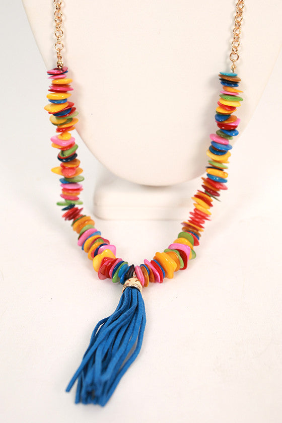 Cabana Party Tassel Necklace in Royal Blue
