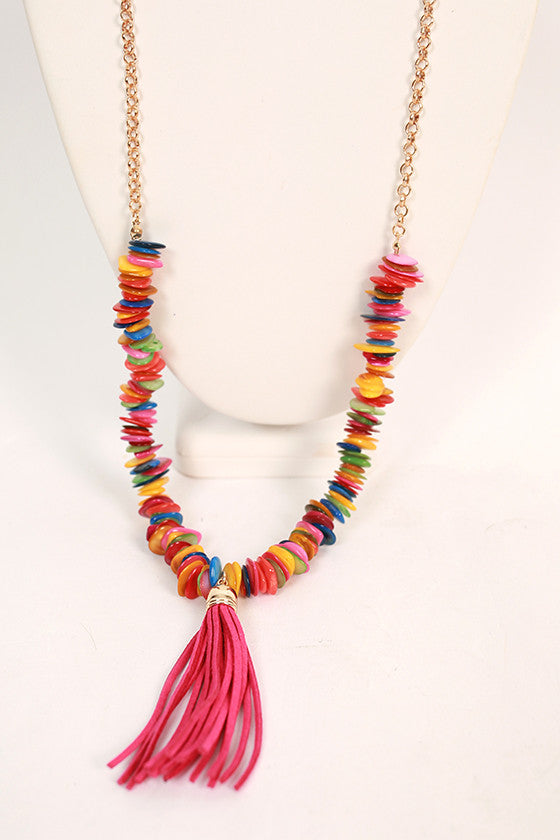Cabana Party Tassel Necklace in Fuchsia