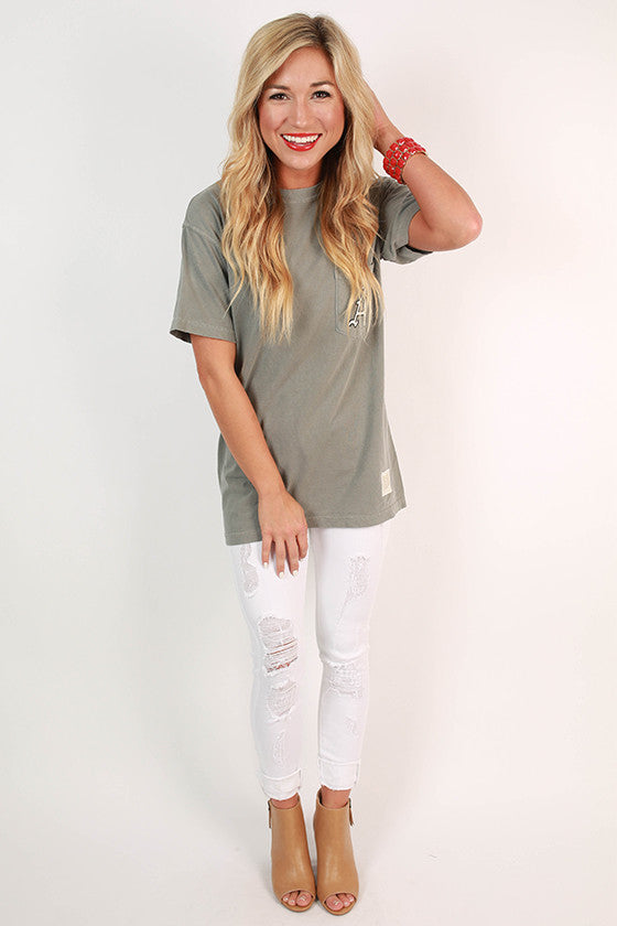 Arkansas Unisex Comfort Color Pocket Tee in Grey