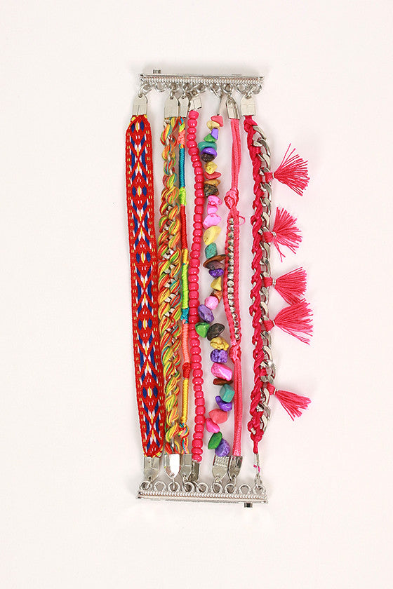Cocktails & Girl Talk Multi Tassel Bracelet in Fuchsia