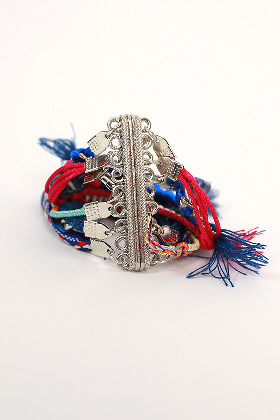 Cocktails & Girl Talk Multi Tassel Bracelet in Royal Blue