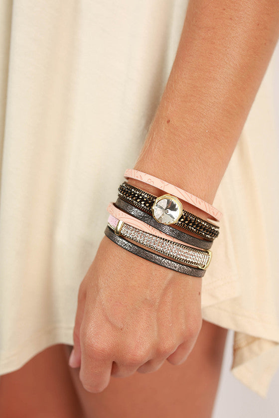 Unlimited Details Crystal Layered Bracelet in Nude