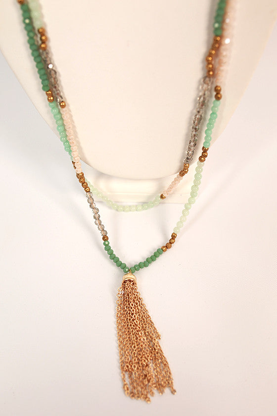 Dreams in the Details Tassel Necklace in Aqua