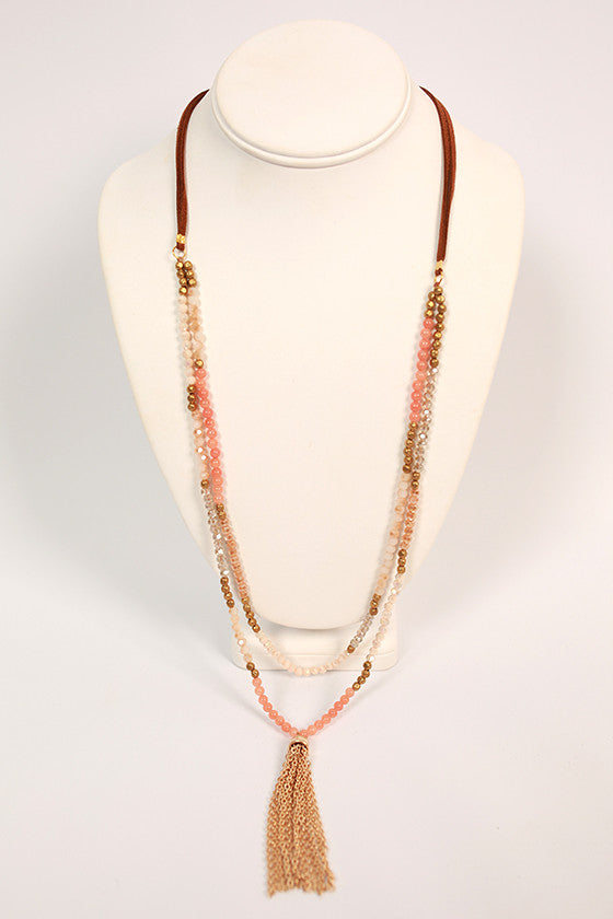 Dreams in the Details Tassel Necklace in Peach