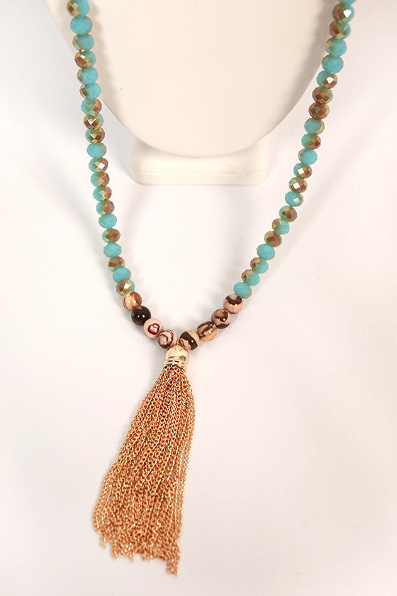 Something Southern Tassel Necklace in Sky Blue