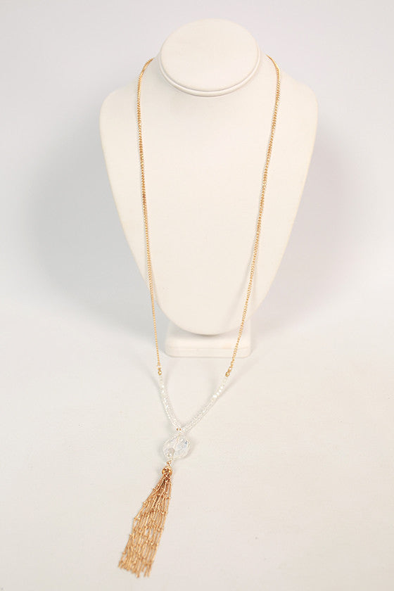 Weekend Sparkles Tassel Necklace in Clear