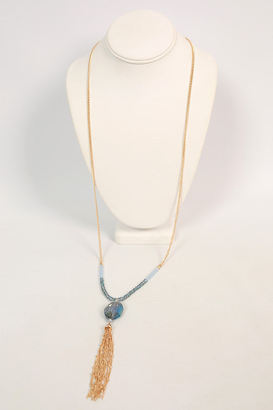 Weekend Sparkles Tassel Necklace in Periwinkle