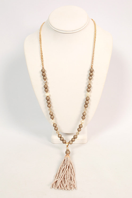 Chic Over Champagne Tassel Necklace in Stone