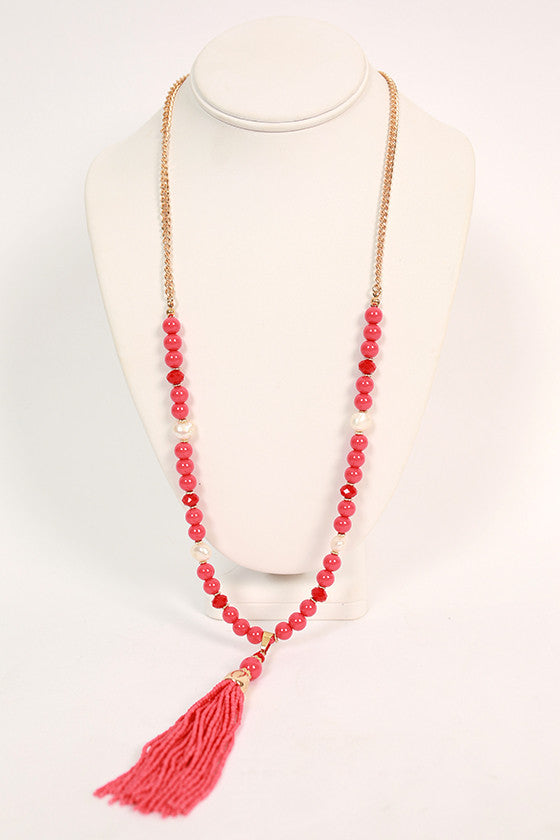 Chic Over Champagne Tassel Necklace in Raspberry