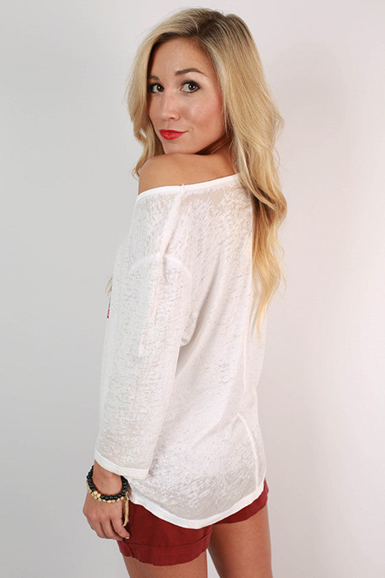 University of Arkansas Boyfriend Tee in White