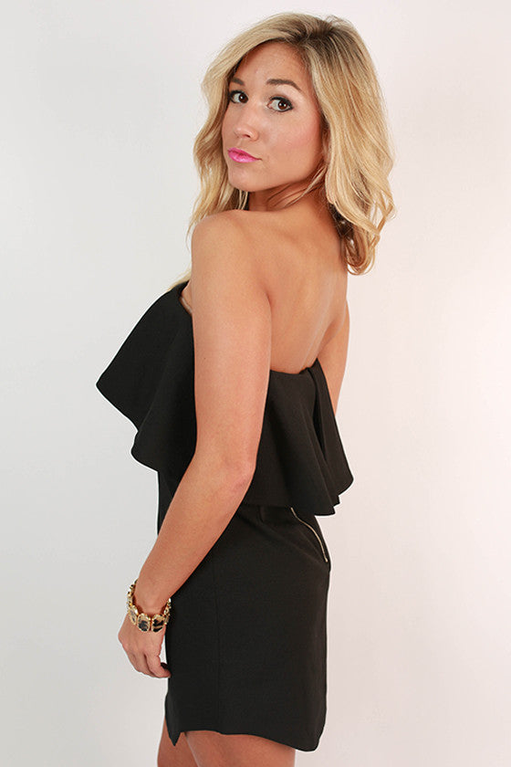 Rhythm & Ruffles Strapless Dress in Black