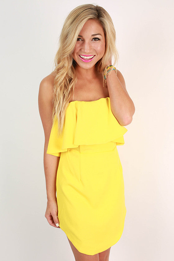 Rhythm & Ruffles Strapless Dress in Yellow
