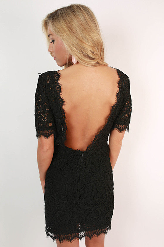 Sweet Like Sunday Lace Dress in Black