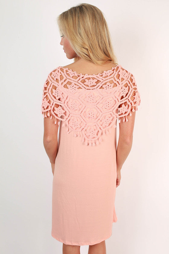 Champagne at the Derby Crochet Dress in Light Peach