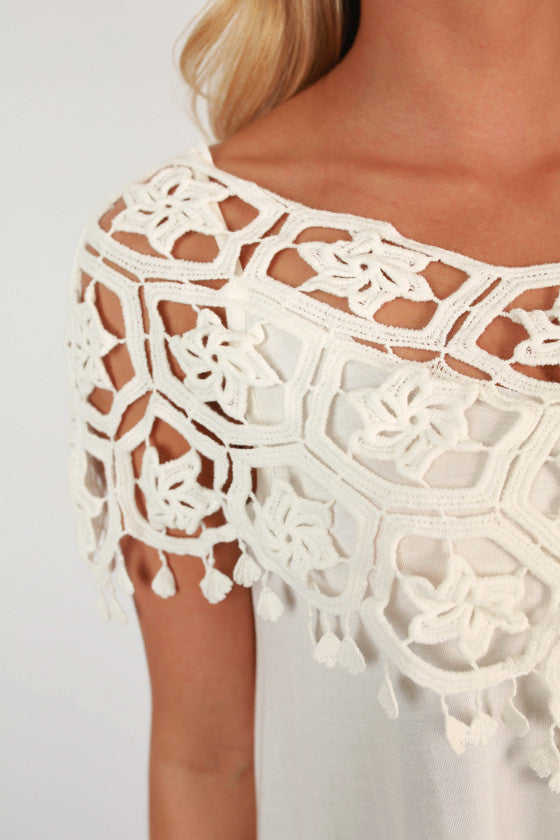 Champagne at the Derby Crochet Dress in White