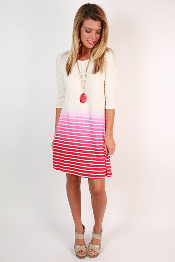 Oceanfront in Ombre Shift Dress in Hot Pink