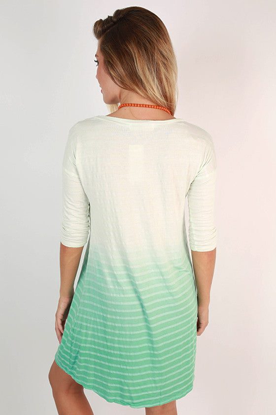 Oceanfront in Ombre Shift Dress in Ocean Wave