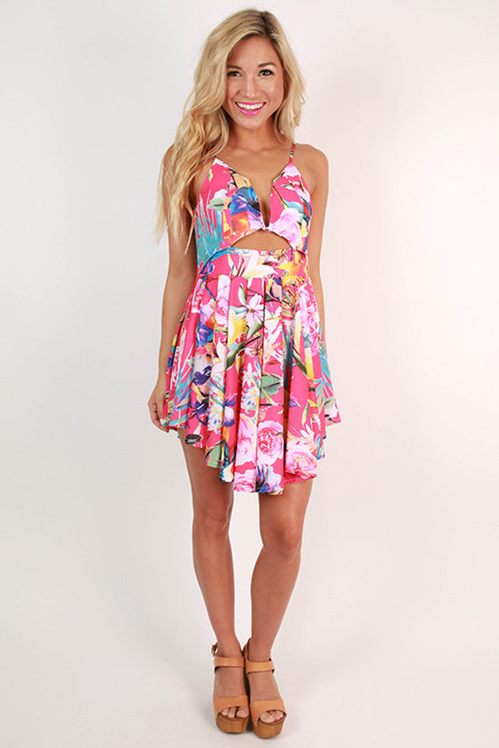 One Way Flight To France Floral Romper