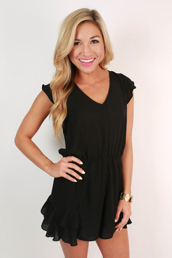 Sizzling in Soho Romper in Black