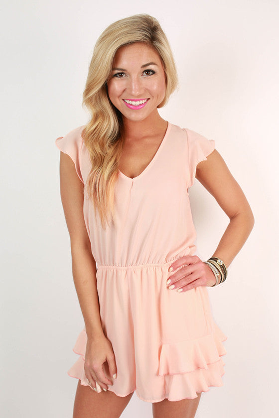 Sizzling in Soho Romper in Light Peach