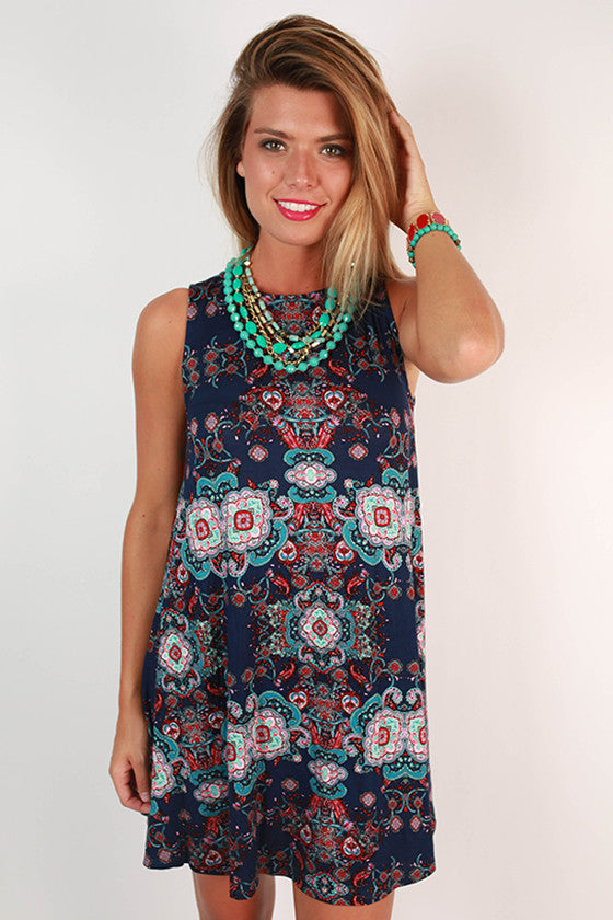 Modern Beauty Paisley Tank Dress in Navy