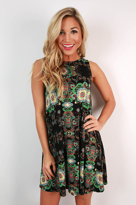 Modern Beauty Paisley Tank Dress in Black