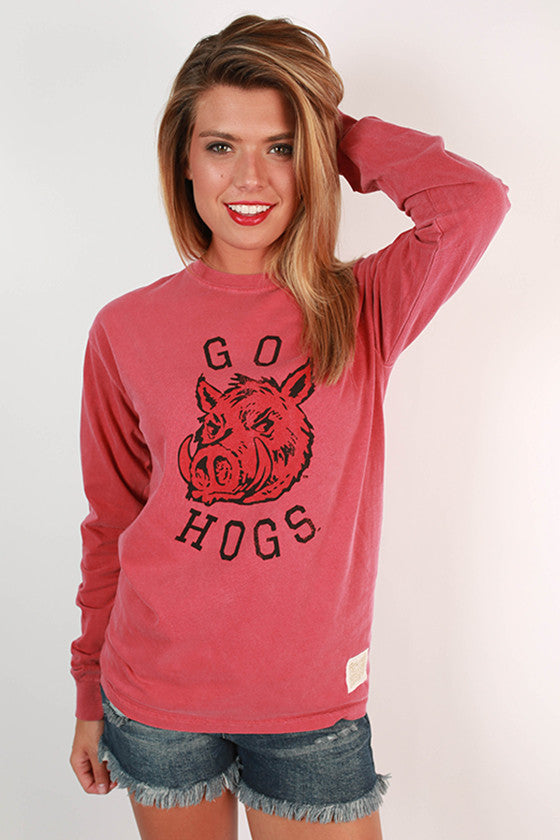 University of Arkansas Unisex Long Sleeve Comfort Color Tee in Cardinal