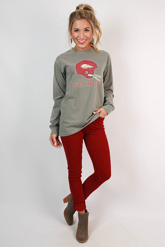 University of Arkansas Unisex Long Sleeve Comfort Color Tee in Grey