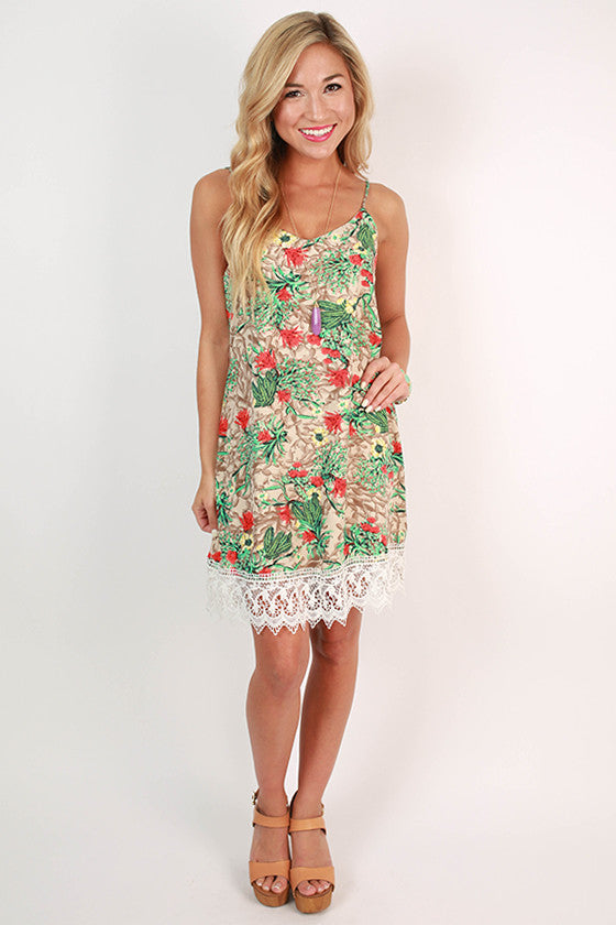 Coladas & Cabanas Tank Dress in Stone